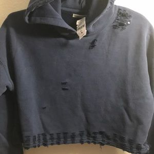 LF Tops - NWT🎈LF distressed oversized blue cropped hoodie